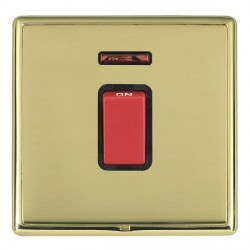 Hamilton Linea-Rondo CFX Polished Brass/Polished Brass 1 Gang 45A Double Pole Red Rocker + neon with Blac...