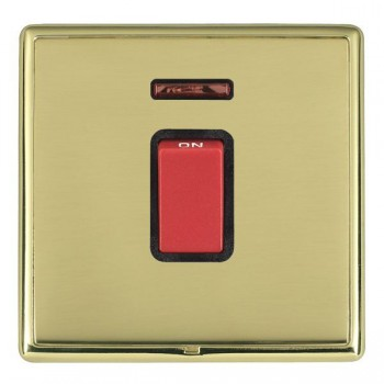 Hamilton Linea-Rondo CFX Polished Brass/Polished Brass 1 Gang 45A Double Pole Red Rocker + neon with Black Insert