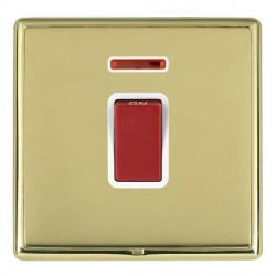 Hamilton Linea-Rondo CFX Polished Brass/Polished Brass 1 Gang 45A Double Pole Red Rocker + neon with White Insert