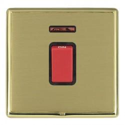 Hamilton Linea-Rondo CFX Polished Brass/Satin Brass 1 Gang 45A Double Pole Red Rocker + neon with Black I...