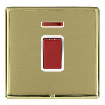 Hamilton Linea-Rondo CFX Polished Brass/Satin Brass 1 Gang 45A Double Pole Red Rocker + neon with White Insert