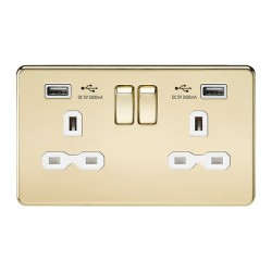 Knightsbridge Screwless Polished Brass 13A 2 Gang Switched Socket with Dual 2.4A USB Charger - White Insert