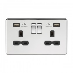 Knightsbridge Screwless Polished Chrome 13A 2 Gang Switched Socket with Dual 2.4A USB Charger - Black Insert