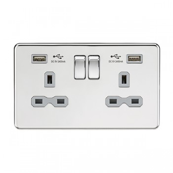 Knightsbridge Screwless Polished Chrome 13A 2 Gang Switched Socket with Dual 2.4A USB Charger - Grey Insert
