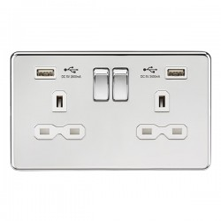 Knightsbridge Screwless Polished Chrome 13A 2 Gang Switched Socket with Dual 2.4A USB Charger - White Insert