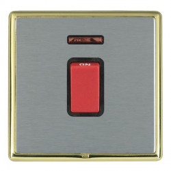 Hamilton Linea-Rondo CFX Polished Brass/Satin Steel 1 Gang 45A Double Pole Red Rocker + neon with Black I...