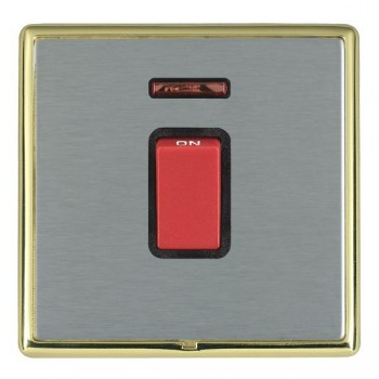 Hamilton Linea-Rondo CFX Polished Brass/Satin Steel 1 Gang 45A Double Pole Red Rocker + neon with Black Insert