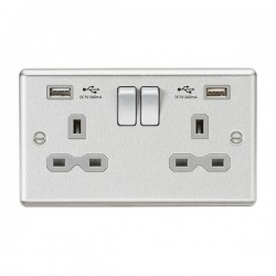 Knightsbridge Decorative Rounded Edge Brushed Chrome 13A 2 Gang Switched Socket with Dual 2.4A USB Charger - Grey Insert