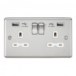 Knightsbridge Decorative Rounded Edge Brushed Chrome 13A 2 Gang Switched Socket with Dual 2.4A USB Charger - White Insert