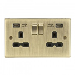 Knightsbridge Decorative Square Edge Antique Brass 13A 2 Gang Switched Socket with Dual 2.4A USB Charger  - Black Insert