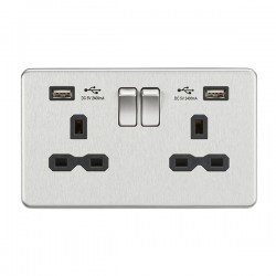 Knightsbridge Screwless Brushed Chrome 13A 2 Gang Switched Socket with Dual 2.4A USB Charger - Black Insert