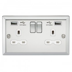 Knightsbridge Decorative Bevel Edge Polished Chrome 13A 2 Gang Switched Socket with Dual 2.4A USB Charger - White Insert
