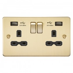 Knightsbridge Flat Plate Brushed Brass 13A 2 Gang Switched Socket with Dual 2.4A USB Charger - Black Inse...