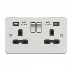 Knightsbridge Flat Plate Brushed Chrome 13A 2 Gang Switched Socket with Dual 2.4A USB Charger - Black Ins...