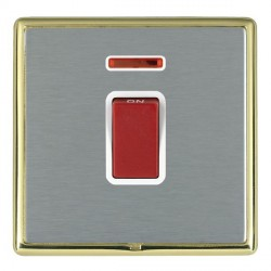 Hamilton Linea-Rondo CFX Polished Brass/Satin Steel 1 Gang 45A Double Pole Red Rocker + neon with White I...