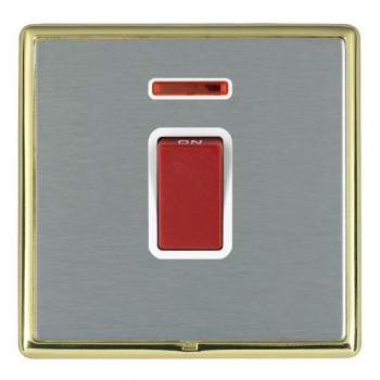 Hamilton Linea-Rondo CFX Polished Brass/Satin Steel 1 Gang 45A Double Pole Red Rocker + neon with White Insert