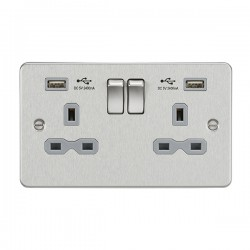 Knightsbridge Flat Plate Brushed Chrome 13A 2 Gang Switched Socket with Dual 2.4A USB Charger - Grey Insert