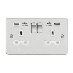 Knightsbridge Flat Plate Brushed Chrome 13A 2 Gang Switched Socket with Dual 2.4A USB Charger - White Insert