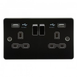 Knightsbridge Flat Plate Gunmetal 13A 2 Gang Switched Socket with Dual 2.4A USB Charger - Black Insert