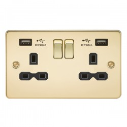 Knightsbridge Flat Plate Polished Brass 13A 2 Gang Switched Socket with Dual 2.4A USB Charger - Black Insert