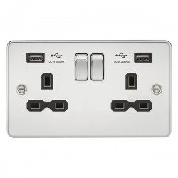 Knightsbridge Flat Plate Polished Chrome 13A 2 Gang Switched Socket with Dual 2.4A USB Charger - Black In...