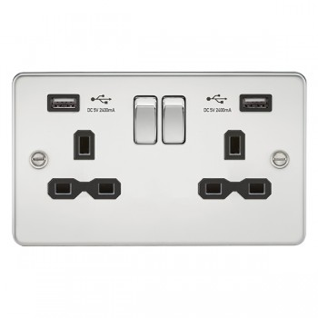 Knightsbridge Flat Plate Polished Chrome 13A 2 Gang Switched Socket with Dual 2.4A USB Charger - Black Insert