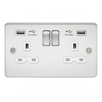 Knightsbridge Flat Plate Polished Chrome 13A 2 Gang Switched Socket with Dual 2.4A USB Charger - White Insert