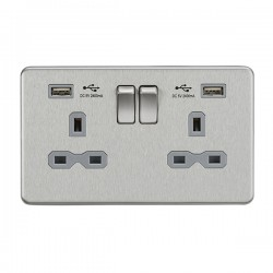 Knightsbridge Screwless Brushed Chrome 13A 2 Gang Switched Socket with Dual 2.4A USB Charger - Grey Insert