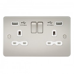 Knightsbridge Flat Plate Pearl 13A 2 Gang Switched Socket with Dual 2.4A USB Charger - White Insert