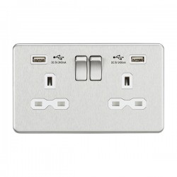 Knightsbridge Screwless Brushed Chrome 13A 2 Gang Switched Socket with Dual 2.4A USB Charger - White Inse...