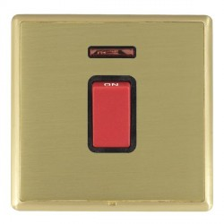 Hamilton Linea-Rondo CFX Satin Brass/Satin Brass 1 Gang 45A Double Pole Red Rocker + neon with Black Insert