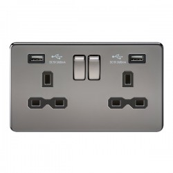 Knightsbridge Screwless Black Nickel 13A 2 Gang Switched Socket with Dual 2.4A USB Charger - Black Insert