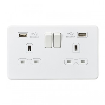 Knightsbridge Screwless Matt White 13A 2 Gang Switched Socket with Dual 2.4A USB Charger - White Insert