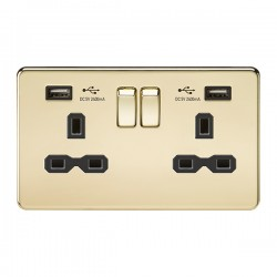 Knightsbridge Screwless Polished Brass 13A 2 Gang Switched Socket with Dual 2.4A USB Charger - Black Insert