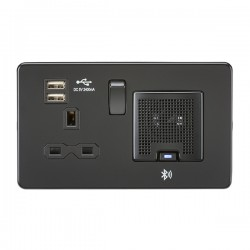 Knightsbridge Screwless Matt Black 13A Switched Socket with Dual USB Charger and Bluetooth Speaker - Black Insert