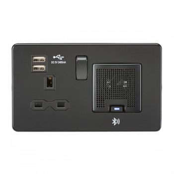 Knightsbridge Screwless Matt Black 13A Switched Socket with Dual USB Charger and Bluetooth Speaker - Black Insert