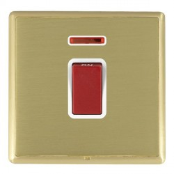 Hamilton Linea-Rondo CFX Satin Brass/Satin Brass 1 Gang 45A Double Pole Red Rocker + neon with White Inse...