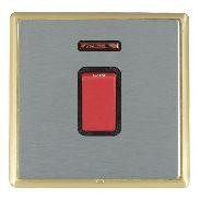 Hamilton Linea-Rondo CFX Satin Brass/Satin Steel 1 Gang 45A Double Pole Red Rocker + neon with Black Inse...