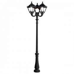 Fumagalli Tobia Nebo-Ofir Triple Black E27 Lamp Post with Clear Diffuser