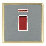 Hamilton Linea-Rondo CFX Satin Brass/Satin Steel 1 Gang 45A Double Pole Red Rocker + neon with White Inse...