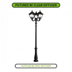Fumagalli Tobia Nebo-Ofir Triple 3x28W 4000K Black LED Lamp Post with Opal Diffuser