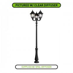 Fumagalli Noemi Nebo-Ofir Triple 3x30W 4000K Black LED Lamp Post with Opal Diffuser