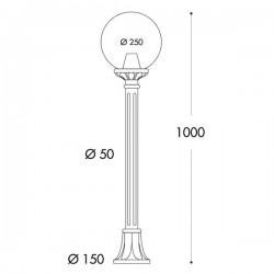 Fumagalli Globe 250 Mizar Black E27 Lamp Post with Clear Diffuser