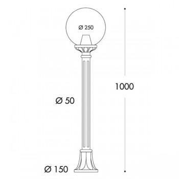 Fumagalli Globe 250 Mizar Black E27 Lamp Post with Opal Diffuser