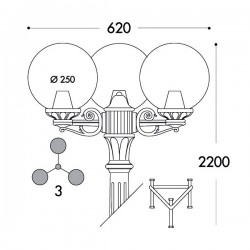 Fumagalli Globe 250 Gigi-Bisso Triple 3x6W 2700K Black LED Lamp Post with Clear Diffuser