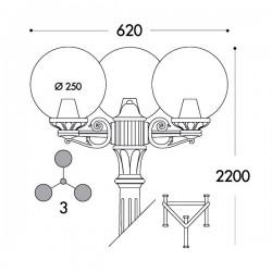 Fumagalli Globe 250 Gigi-Bisso Triple Black E27 Lamp Post with Clear Diffuser