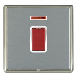 Hamilton Linea-Rondo CFX Satin Nickel/Satin Steel 1 Gang 45A Double Pole Red Rocker + neon with White Ins...