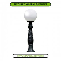 Fumagalli Globe 300 Iafet Black E27 Lamp Post with Clear Diffuser