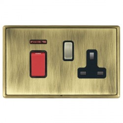 Hamilton Linea-Rondo CFX Antique Brass/Antique Brass 1 Gang Double Pole 45A Red Rocker + 13A Switched Soc...
