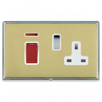 Hamilton Linea-Rondo CFX Bright Chrome/Polished Brass 1 Gang Double Pole 45A Red Rocker + 13A Switched Socket with White Insert